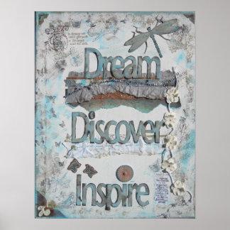 Soñe descubra inspire el poster de las técnicas