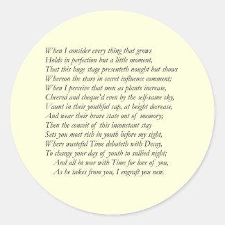 Soneto # 15 de William Shakespeare Etiquetas Redondas
