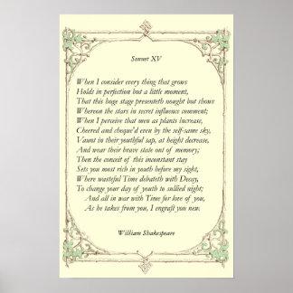 Soneto # 15 de William Shakespeare Póster