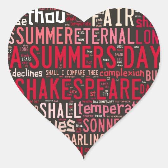 Soneto 18 de Shakespeare Pegatina En Forma De Corazón