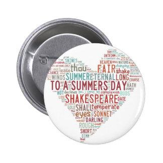 Soneto 18 de Shakespeare Pin Redondo De 2 Pulgadas