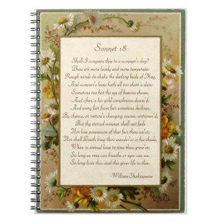 Soneto 18 de Shakespeare Spiral Notebooks
