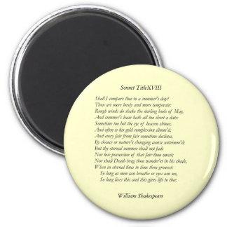 Soneto # 18 de William Shakespeare Imán Redondo 5 Cm