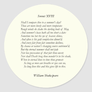 Soneto # 18 de William Shakespeare Pegatina Redonda