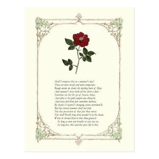 Soneto # 18 de William Shakespeare Postal