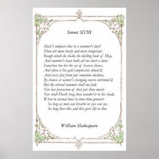 Soneto # 18 de William Shakespeare Póster