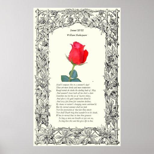 Soneto # 18 de William Shakespeare Posters