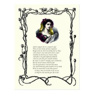 Soneto # 18 de William Shakespeare Tarjeta Postal
