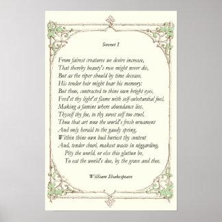 Soneto 1 de William Shakespeare Impresiones