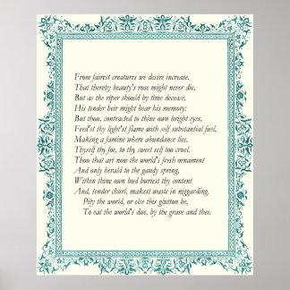 Soneto 1 de William Shakespeare Poster