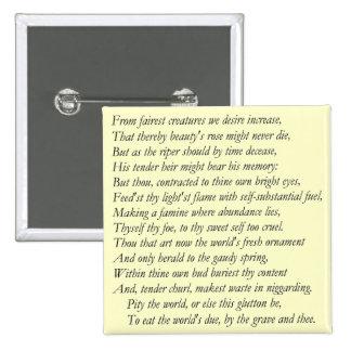 Soneto # 1 de William Shakespeare Pin Cuadrada 5 Cm