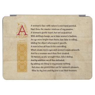 Soneto 20 de Shakespeare (XX) en el pergamino Cover De iPad Air