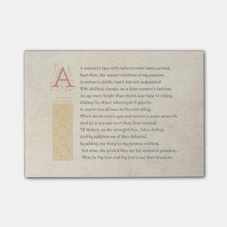 Soneto 20 de Shakespeare (XX) en el pergamino Notas Post-it®