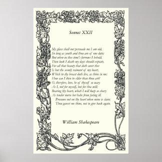 Soneto 22 de William Shakespeare Impresiones