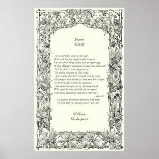 Soneto # 23 de William Shakespeare Póster