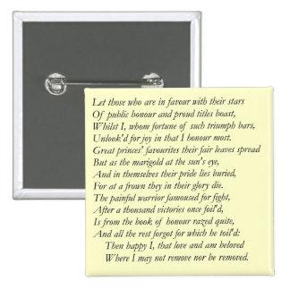 Soneto # 25 de William Shakespeare Pin Cuadrada 5 Cm