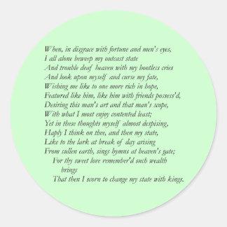 Soneto # 29 de William Shakespeare Pegatinas Redondas