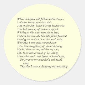 Soneto # 29 de William Shakespeare Pegatina Redonda
