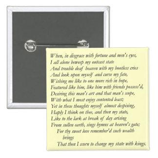 Soneto # 29 de William Shakespeare Pin Cuadrada 5 Cm