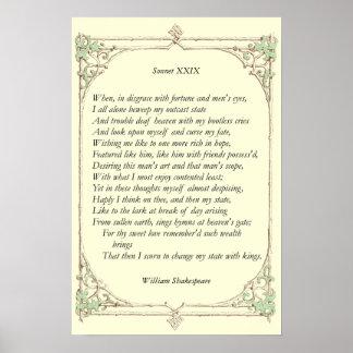 Soneto # 29 de William Shakespeare Póster
