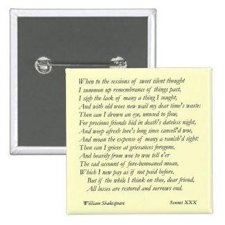 Soneto # 30 de William Shakespeare Pin Cuadrada 5 Cm