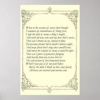Soneto # 30 de William Shakespeare Póster