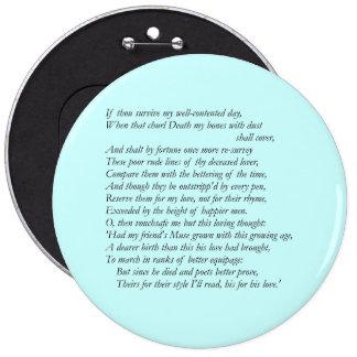 Soneto # 32 de William Shakespeare Pin Redondo 15 Cm