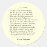 Soneto # 42 de William Shakespeare Etiquetas Redondas