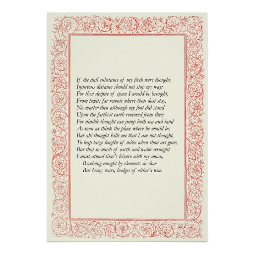 Soneto # 44 de William Shakespeare Poster