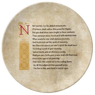 Soneto 55 (LV) de Shakespeare en el pergamino Platos De Cerámica
