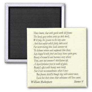 Soneto # 5 de William Shakespeare Imán Cuadrado