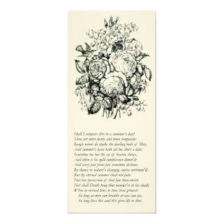 """Soneto de Shakespeare # 18 Invitación 4"""" X 9.25"""""""