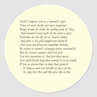 Soneto de Shakespeare # 18 Pegatina Redonda