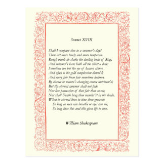Soneto de Shakespeare # 18 Postal