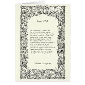 Soneto de Shakespeare # 18 Tarjeta De Felicitación