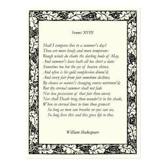 Soneto de Shakespeare # 18 Tarjeta Postal