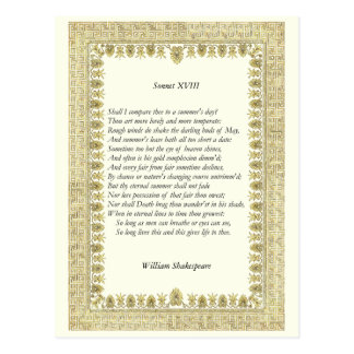 Soneto de Shakespeare # 18 Tarjetas Postales
