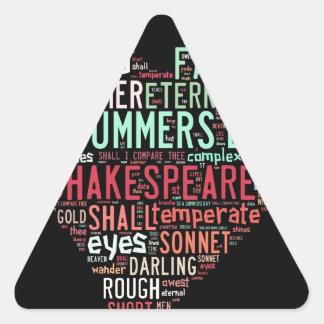 Soneto de Shakespeare Pegatina Triangular