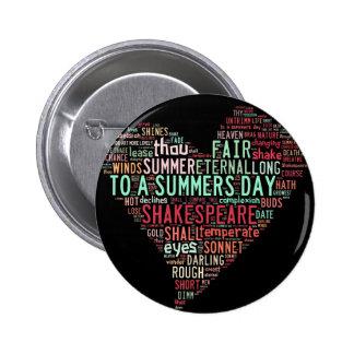 Soneto de Shakespeare Pin Redondo De 2 Pulgadas