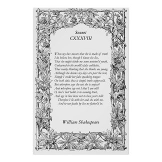 Soneto número 138 de William Shakespeare Póster