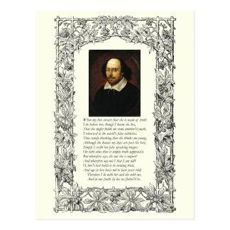 Soneto número 138 de William Shakespeare Tarjeta Postal