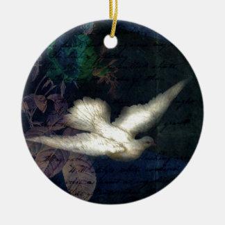 Song Bird Brings Peace Ceramic Ornament