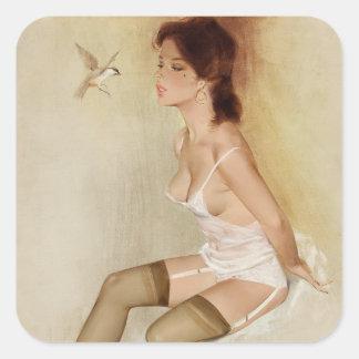 Song Bird, Brown & Bigelow 1973 Pin Up Art Square Sticker