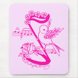 Song Bird On A Musical Note With Daises Mouse Pad