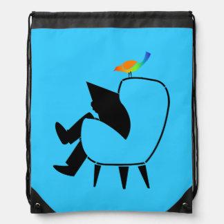 Song Bird Reading Newspaper Blue Cinch Bags
