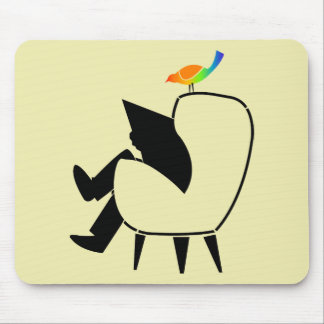 Song Bird Reading Newspaper Mouse Pad
