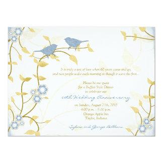 Song Birds Blue Gold Diamond Wedding Anniversary 6.5x8.75 Paper Invitation Card