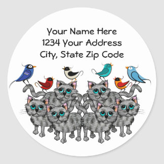 Song Birds & Cats Round Stickers