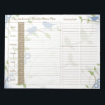 "Song Birds Floral Weekly Personalized Meal Planner Notepad<br><div class=""desc"">You can personalize the name on this handy blue, green, brown, and white song birds leafy floral personalized weekly menu plan or meal planner calendar tear away notepad. Just fill it in each week and then tear it away to get to the next blank week. It includes meal planning for...</div>"