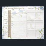 """Song Birds Floral Weekly Personalized Meal Planner Notepad<br><div class=""""desc"""">You can personalize the name on this handy blue, green, brown, and white song birds leafy floral personalized weekly menu plan or meal planner calendar tear away notepad. Just fill it in each week and then tear it away to get to the next blank week. It includes meal planning for...</div>"""